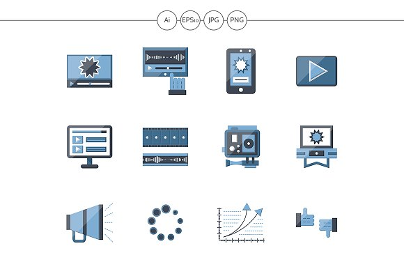 Video Blog Flat Color Icons