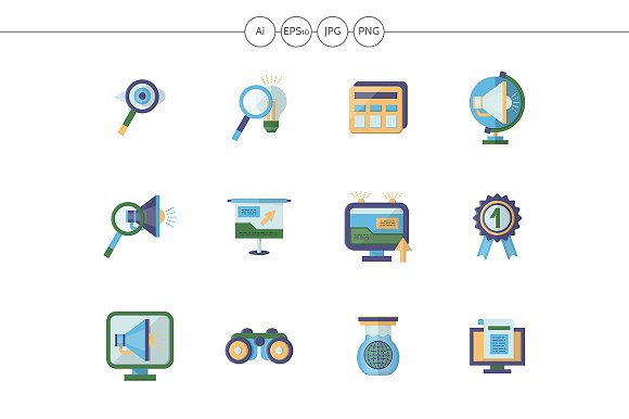 Business Research Flat Color Icons