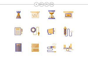 Business planning flat color icons