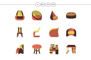 Stylish furniture flat color icons