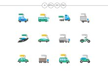 Auto business flat color icons