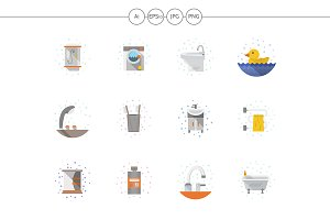 Bathroom objects flat color icons
