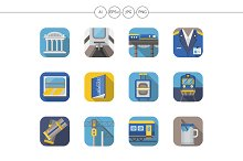 Railway flat color icons