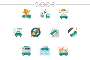 Automobile insurance flat icons set