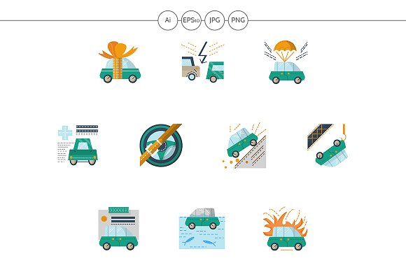 Automobile Insurance Flat Icons Set