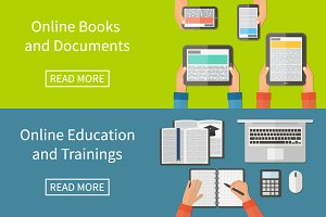 Online Education, e-books. flat.