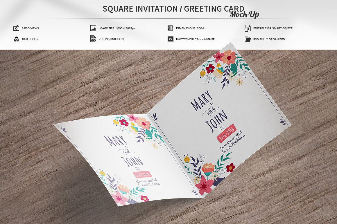 invitation greeting card mock up product mockups creative market. Black Bedroom Furniture Sets. Home Design Ideas