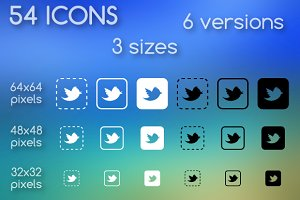 Social media icons square shapes