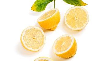 Ripe lemons, above view.