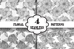 Black and White Floral Patterns(2)