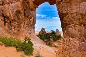 View through Pine Tree Arch.
