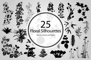 25 Floral Silhouettes (Vector)