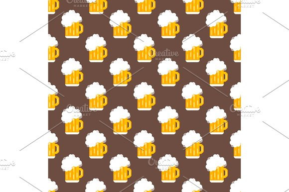 Beer Glass Vector Seamless Pattern