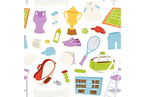 Vector illustration tennis pattern seamless
