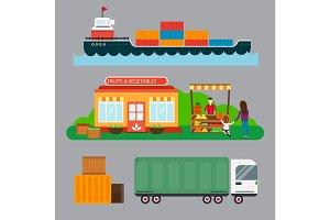 Street seller with stall fruits and ship cargo sea transportation vector illustration.