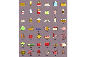 Line art food and drink icon set. Infographic elements.