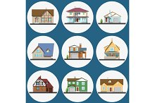 Colorful Flat Residential Houses set