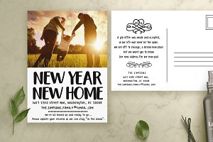 New Year Moving Cards Template