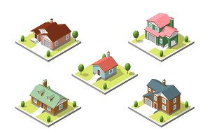 isometric buildings set. Flat style.