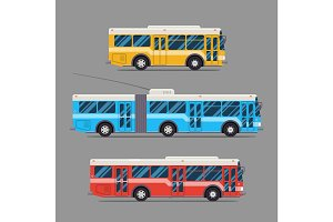 Bus icon flat design. vector city transportation. trolleybus