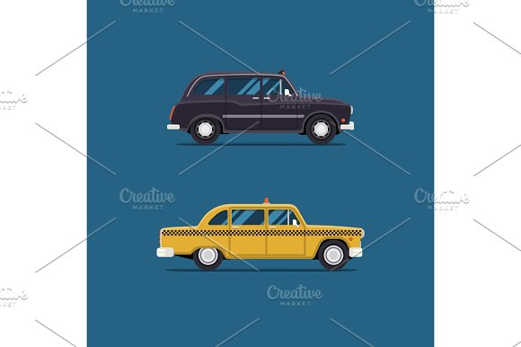 vector modern flat design. Yellow and blackTaxi car London and New York. City service transport icon