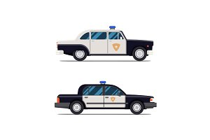 Vector Classic Police Car. Side view. Modern flat style illustration. Icon