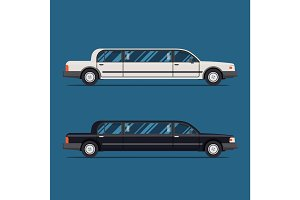 White limo and black limousine. Flat vector illustration. Isolate. Luxary vehicle. Side view