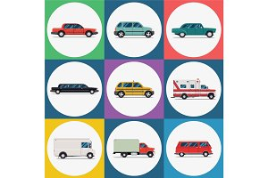 Vector set urban transport icons. Red sedan car, green hatchback, retro vehicle, limousine, taxi, ambulance, delivery truck, red bus