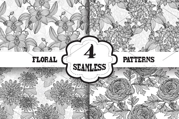 Black and White Floral Patterns (3)
