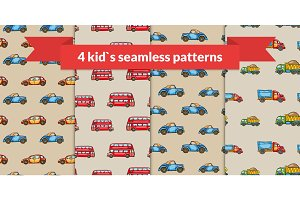 Child vector seamless pattern set. Hand drawn kids transport: retro car, red london bus, truck