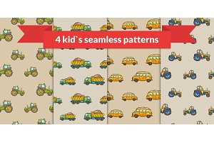 Child vector seamless pattern. Hand drawn kids transport: tractor, school bus, truck