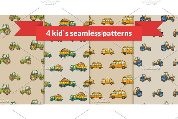 Child Vector Seamless Pattern Hand Drawn Kids Transport Tractor School Bus Truck