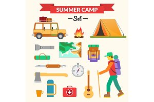 Hiking and camping equipment - icon set and infographics. Modern flat design