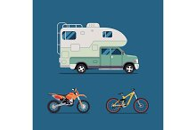 Vector illustration flat. the best banner  for the travel agency and camping, outdoor activities, sports and outdoor recreation. Camper, motorcycle, bicycle