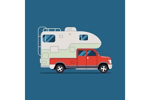 Vector illustration flat. the bestbanner for the travel agency and camping, outdoor activities, sports and outdoor recreation. Camper
