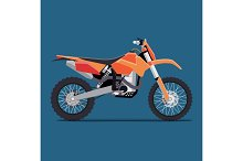 vector illustration of a flat sports enduro bike for extreme trips through the mountains. tech design on a blue background.