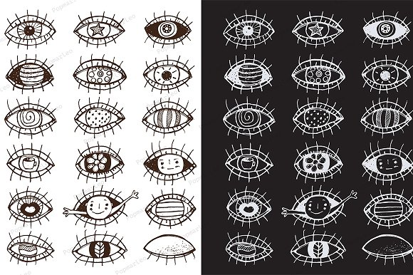 Eyes hand drawn outline collection
