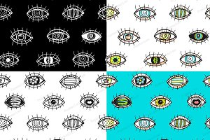 Eyes doodle outline seamless pattern