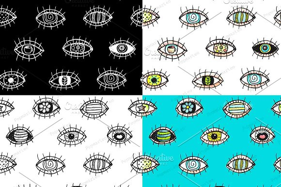 Eyes doodle outline seamless pattern in Illustrations
