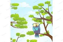 Owl sittin on tree in wild nature