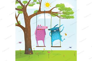 Friends animals swinging cartoon
