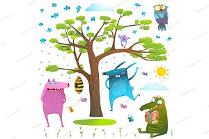 Animals nature clip art set