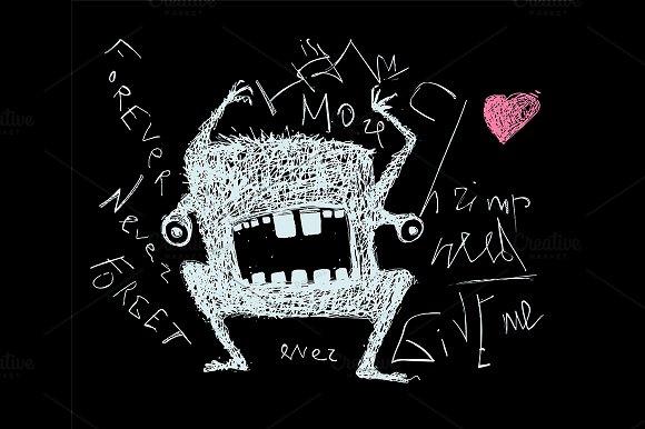 Scribble Doodle Monster On Black