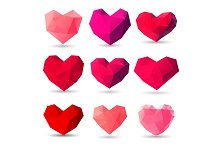 Set of heart gem symbols