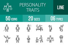 50 Personality Traits Line Icons