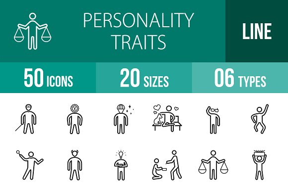 50 Personality Line Icons