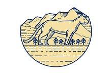 Cougar Mountain Lion Tree Mono Line