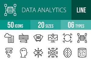 50 Data Analytics Line Icons