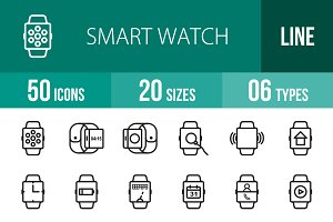 50 Smart Watch Line Icons