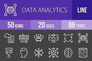 50 Analytics Line Inverted Icons